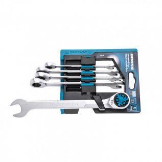 Набор ключей комбинированных трещоточных, количество зубьев 100, СRV, 5 шт, 8- 17 мм. Gross