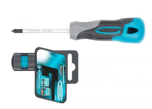 Отвертка PZ1 x 75 мм, S2, трехкомпонентная ручка. GROSS