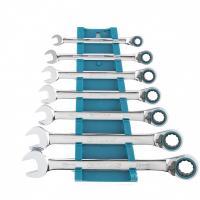 Набор ключей комбинированных с трещоткой, 8-19 мм, 7 шт, реверсивные, CrV. GROSS