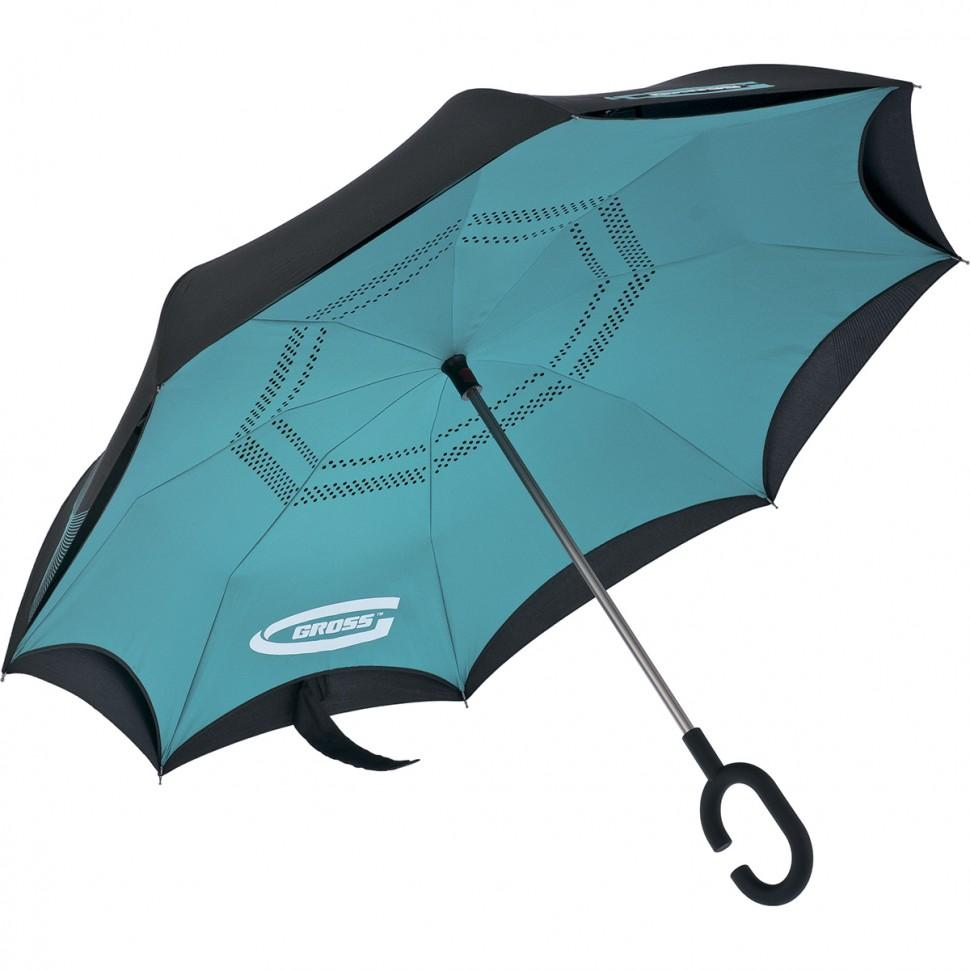 Зонт-трость обратного сложения, эргономичная рукоятка с покрытием Soft ToucH. GROSS