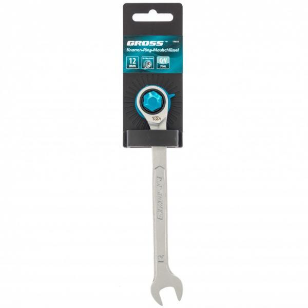Ключ комбинированный трещоточный, 12 мм, количество зубьев 100. Gross