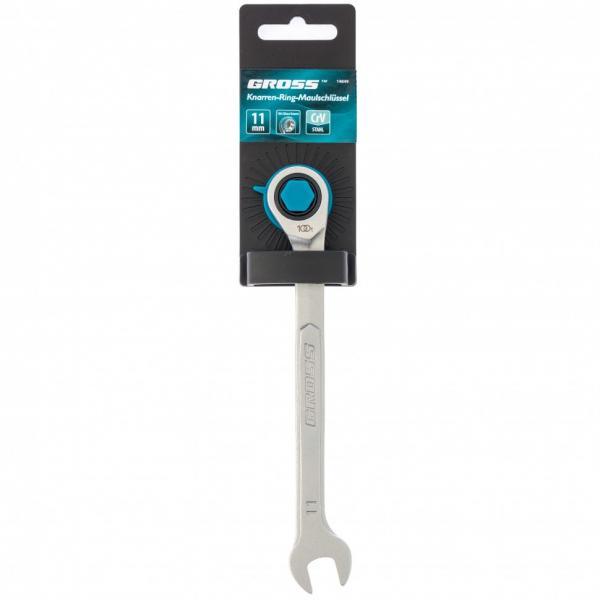 Ключ комбинированный трещоточный, 11 мм, количество зубьев 100. Gross