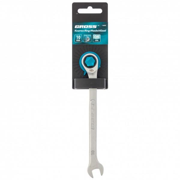 Ключ комбинированный трещоточный, 10 мм, количество зубьев 100. Gross