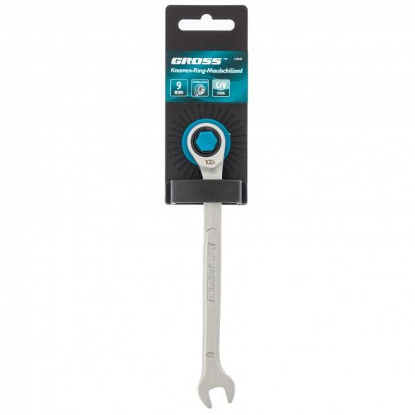Ключ комбинированный трещоточный, 9 мм, количество зубьев 100. Gross