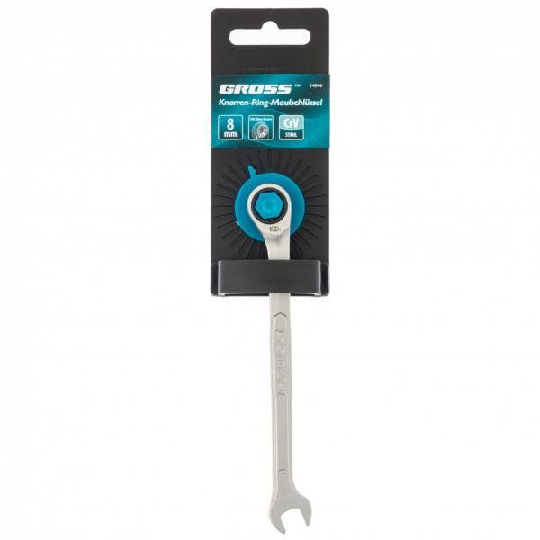 Ключ комбинированный трещоточный, 8 мм, количество зубьев 100. Gross